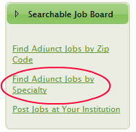 Searchable Job Board for Online Adjunct Faculty Positions