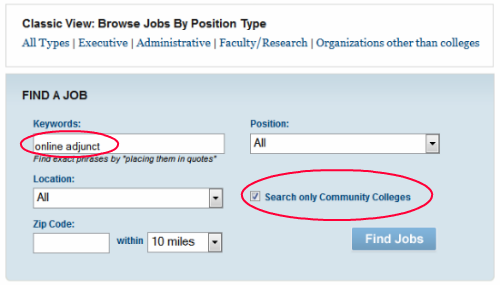 The Chronicle Online Adjunct Faculty Positions Search