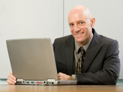 Older adult learner going to school online