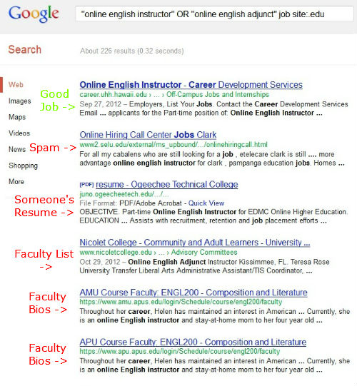 Bad Search Example for Online Faculty Positions and Online Adjunct Jobs