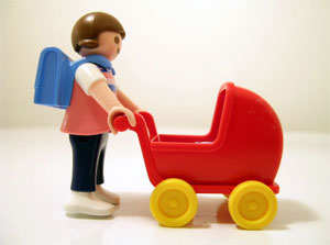 lego single mom pushing stroller while going back to school