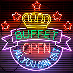 All you can eat neon buffet sign