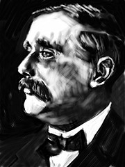 Black and white portrait of H.G. Wells