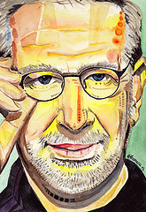Colorful painting of Steven Spielberg wearing glasses