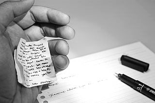 Cheating in online classes, online education myths, photo of crib notes