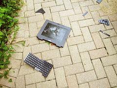 Online learning degrees | Broken, smashed laptop