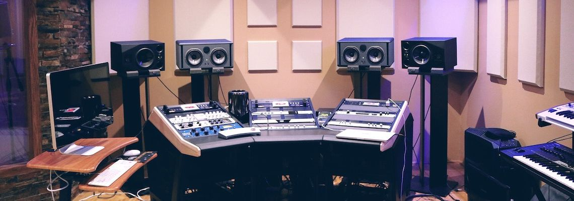 Online music production degree grads work in studios like this