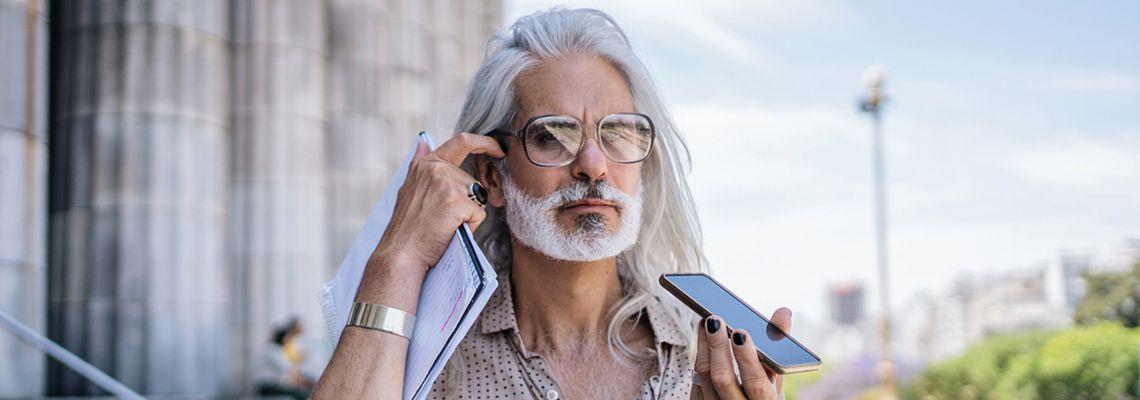 Professor using mobile apps